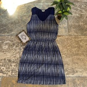 Anthropologie Dresses - Deletta Janie Navy Blue White Printed Jersey Dress